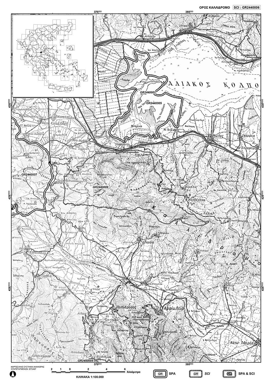 Χάρτης της περιοχής Natura 2000 στο Καλλίδρομο.